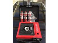 Portable gas stove barbecue with 3 gas cans brand new never used £5