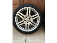 "MERCEDES 18"" AMG GENUINE ALLOY WHEELS AND WINTER TYRES STAGGERED FITMENT GREAT CONDITION"
