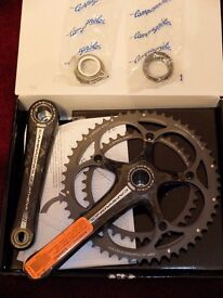New unused boxed Campagnolo Athena carbon Ultra Torque chainset and UT BSA cups