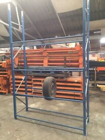 Tyre Racking 1 Bay 2 Frames 3m x 450mm Beams 1800mm Long Blue Good Condition