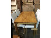 BRAND NEW-SOLID WOOD OAK DINNING TABLE SET WITH 4 LEATHER CHAIRS OPTION|| SALE NOW ON||
