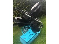 Britax B-dual double pushchair with soft carrycot