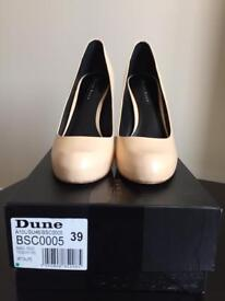 "Black Sands by Dune ""Babble"" nude/cream court shoe size 39."