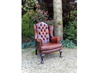 Beautiful Vintage Brown Leather Chesterfield Wing back Chair