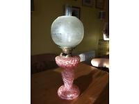 Oil Lamp Victorian Nailsea Glass