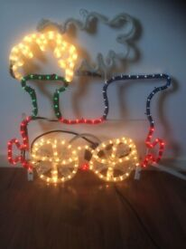 Christmas lights. Train & Holly flashing. Indoor/Outdoor use