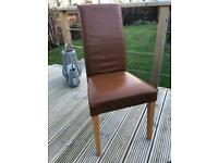 Next Brown Leather Dining Chairs (Set of 4)