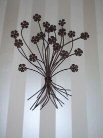 3D Dark Brown Metal Wall Art of a bunch of Flowers