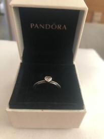 Pandora pink heart gem ring