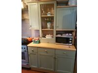 22 used kitchen units, sink, taps, extractor and worktops