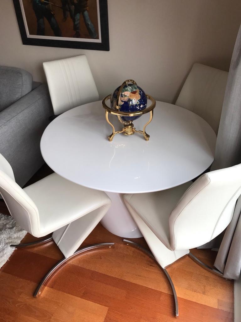 Italian leather white coffee table