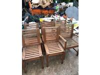 Set of 6 wooden garden chairs, 2 with armrests & 4 without