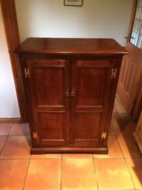 Unique Craftsman Built Solid Oak Reproduction TV & Stereo Matching Cabinets