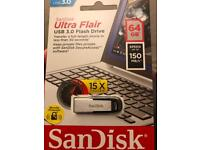 64 gb, flash drive SanDisk. brand new in original packaging.