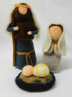 NEW Primitives by Kathy FELT NATIVITY SET 3 Pc Joseph Mary Baby Jesus Christmas Jesus Felt Set