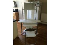 Tall white corner desk and chair, excellent condition