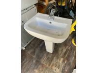 Pedestal Sink, taps and waste