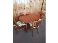 Country pine kitchen extendable table & 4 chairs