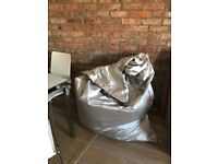 Large silver beanbag