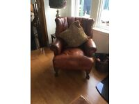 High backed leather chair