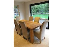 Oak Dining Table and 6 fabric chairs