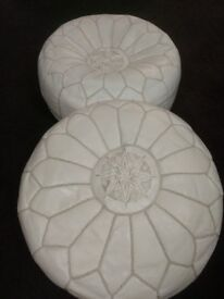 2 Moroccan leather pouffe