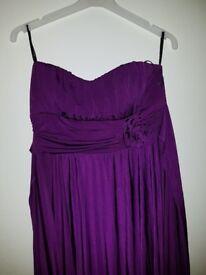 Purple Formal Evening Bridesmaid Dress Size L