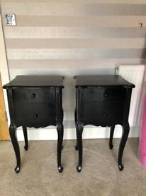 2 x Black antique bedside drawers