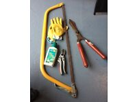 Secateurs, Bowsaw, shears and gloves
