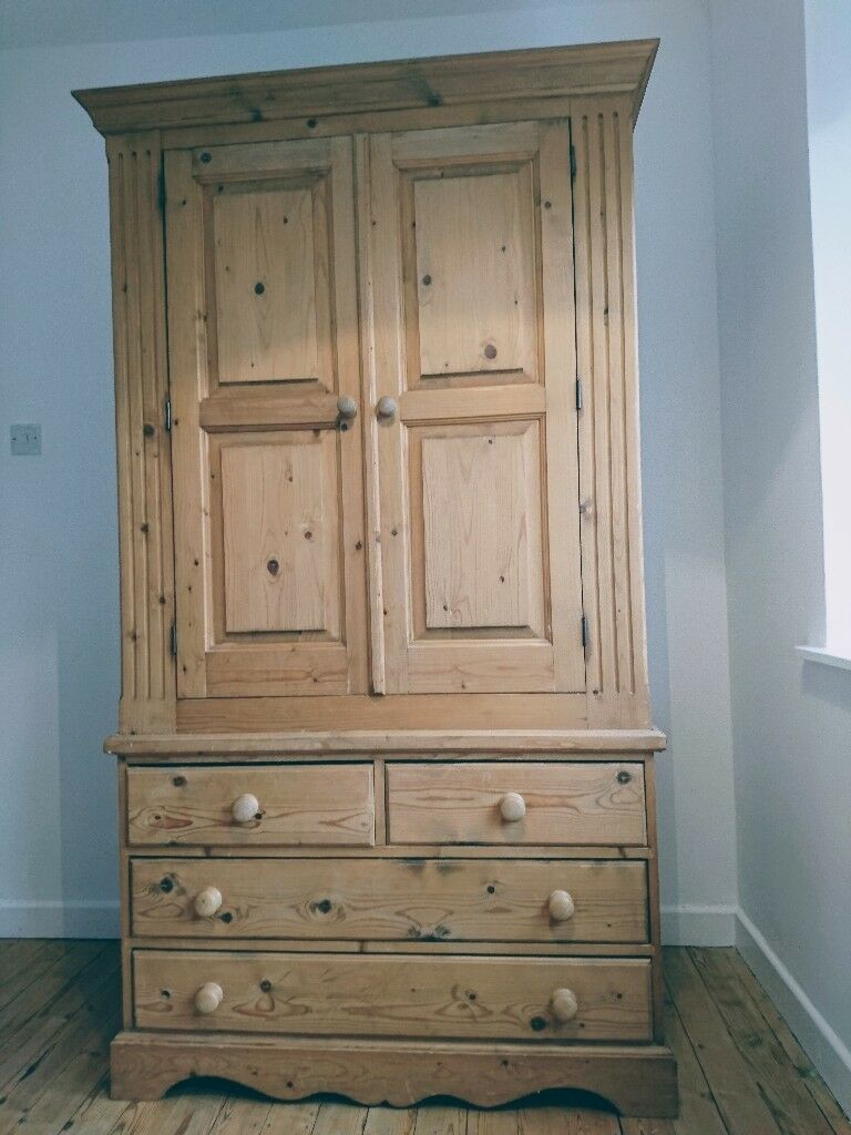 Antique Pine Wardrobe.