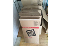39 heavy duty cardboard boxes for moving house + tape dispenser, tape and bubblewrap