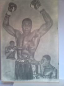 PRINTS OF FAMOUS BOXING LEGENDS MIKE TYSON, NIGEL BEN AND FRANK BRUNO.