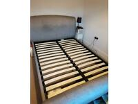 Double fabric sleigh bed