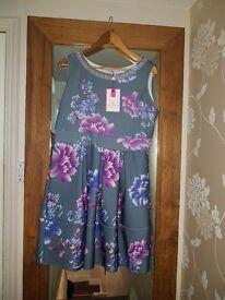 Grey/jewel flower dress bnwt
