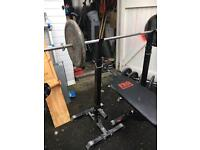Weights, bench, stand, dumbells, barbells and bicep/triceps curl bar