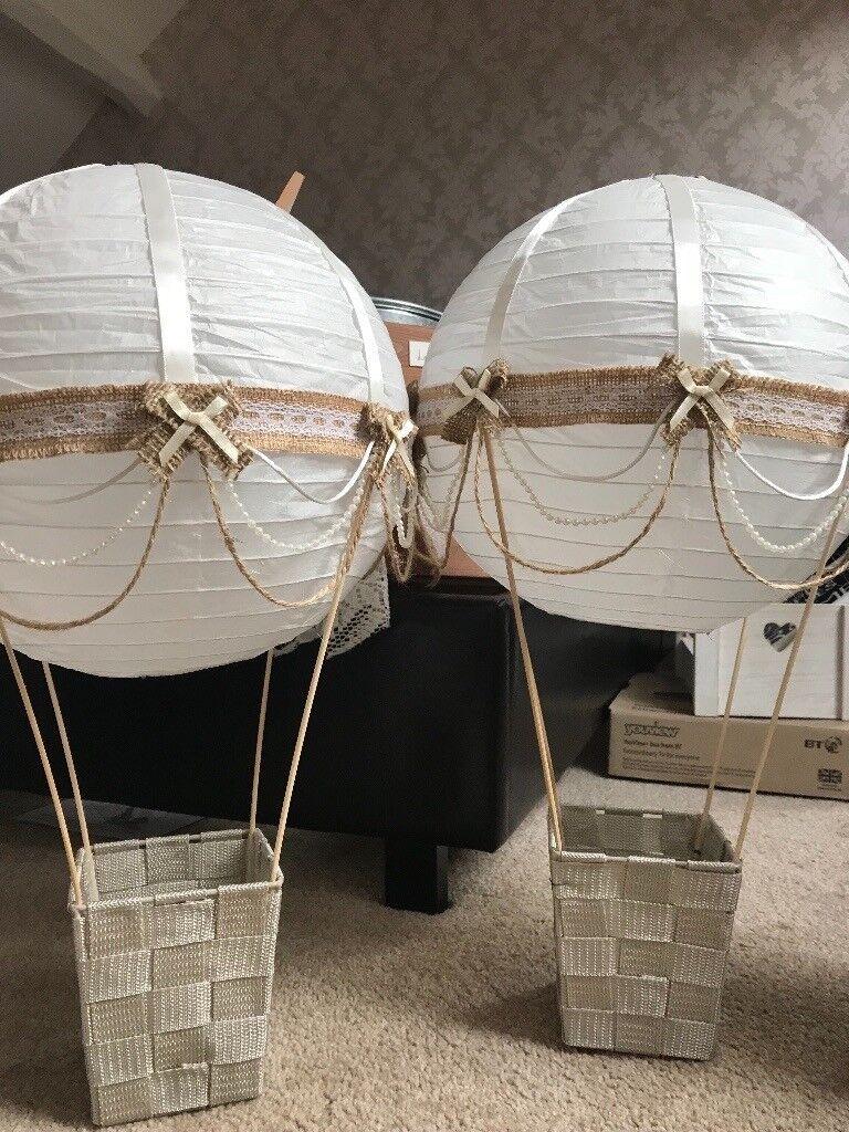 2 handmade paper lantern balloon centrepieces for wedding flowers plus 8 baskets decoration