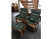 Vintage danish LeAther chairs x2 plus footstool
