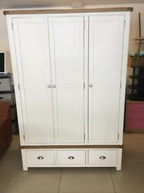 Brand New Solid Oak And Painted Pine 3 Door 3 Drawer Wardrobe.