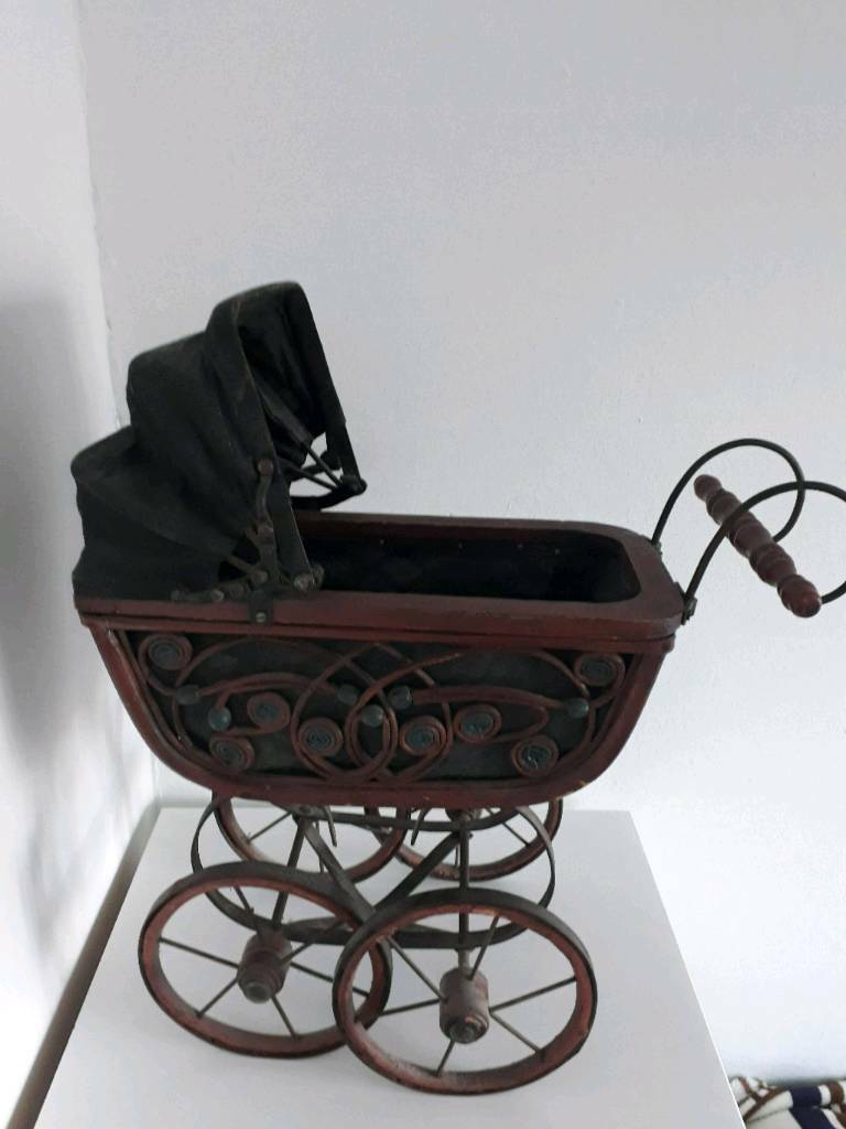 Other Antique Victorian Doll Carriage Buggy Strolle Wicker Wood