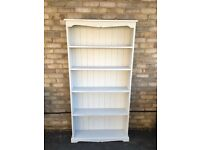 PINE SHELVES PAINTED TALL FRENCH GREY SOLID WOOD SHELVING STORAGE BOOK CASE
