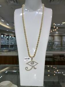 10k YELLOW GOLD AND 1.16CT DIAMONDS EYE OF HORUS PENDANT SET WITH 26 INCH 5MM ROPE CHAIN