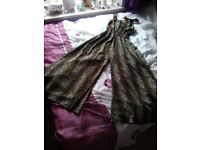 NEW Goddess London animal print jumpsuit - very long leg culottes.