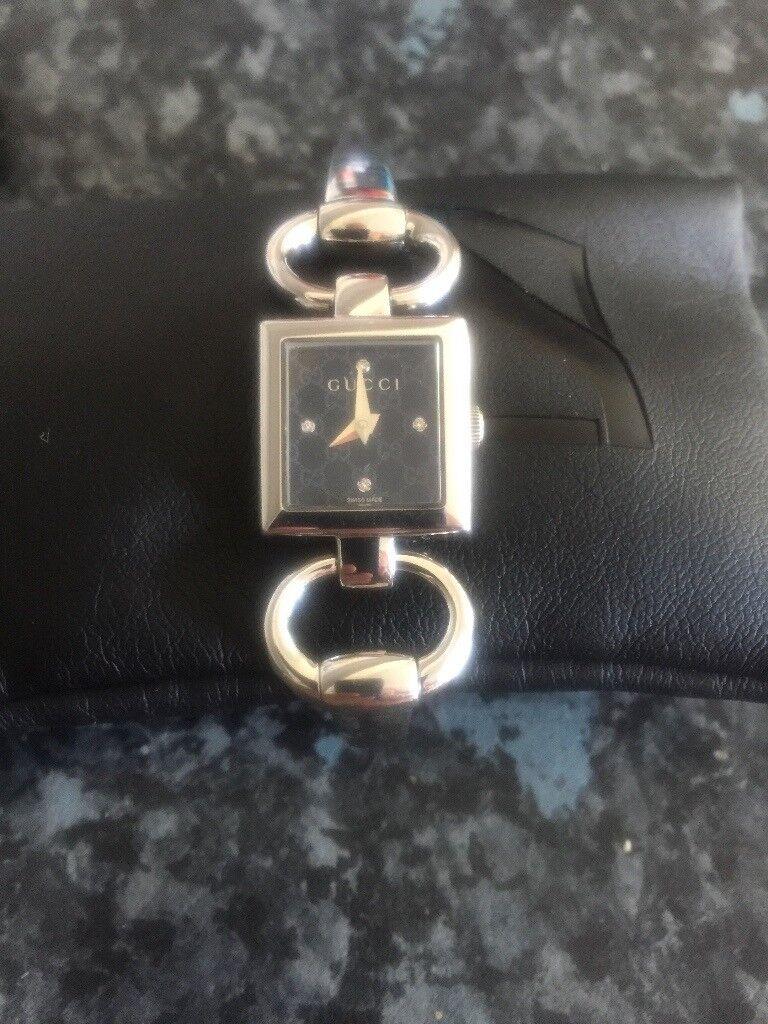 c6593ede9 GUCCI watch womans ladies Model 120 SST Bangle bracelet Square black face  with diamonds