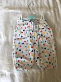 BNWT John Lewis Cropped Bloomer Trousers 12-18 months