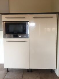 High gloss unit with integral microwave and fridge