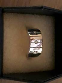9ct White Gold 3 Diamonds Ring
