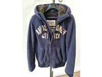 Abercrombie and Fitch Mens Navy Hooded Wolf Jaw Jacket Heavy Fur Lined