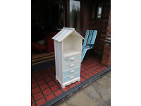 BATHROOM CUPBOARD - Solid wood painted white .
