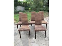 Rattan dining chairs X 5