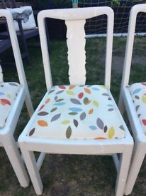 X4 Painted Wooden Dining Chairs - Ideal for further renovation